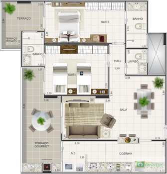 Apartamento, código 14879412 em Praia Grande, bairro Boqueirão