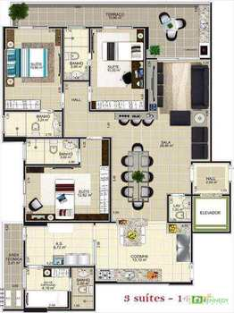 Apartamento, código 14879417 em Praia Grande, bairro Guilhermina
