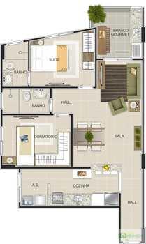 Apartamento, código 14876726 em Praia Grande, bairro Canto do Forte