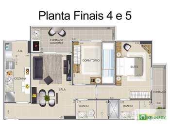 Apartamento, código 14879531 em Praia Grande, bairro Ocian