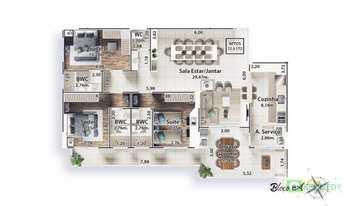 Apartamento, código 14879374 em Praia Grande, bairro Canto do Forte
