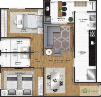 Apartamento, código 14879526 em Praia Grande, bairro Ocian