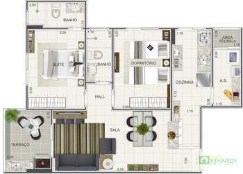Apartamento, código 14879540 em Praia Grande, bairro Caiçara