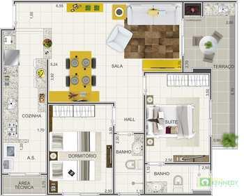 Apartamento, código 14879542 em Praia Grande, bairro Caiçara