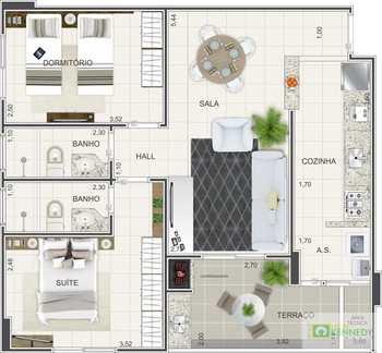 Apartamento, código 14879543 em Praia Grande, bairro Caiçara