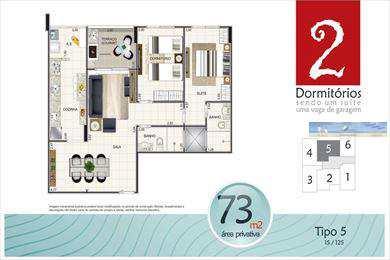 Apartamento, código 2977 em Praia Grande, bairro Aviação