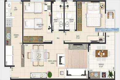 Apartamento, código 2408 em Praia Grande, bairro Canto do Forte