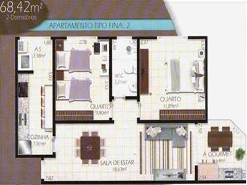 Apartamento, código 2753 em Cubatão, bairro Jardim Casqueiro
