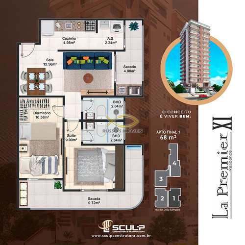 Apartamento, código 60020477 em Praia Grande, bairro Guilhermina