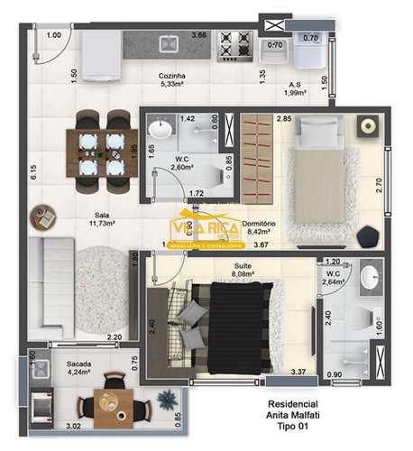 Apartamento, código 377746 em Praia Grande, bairro Guilhermina