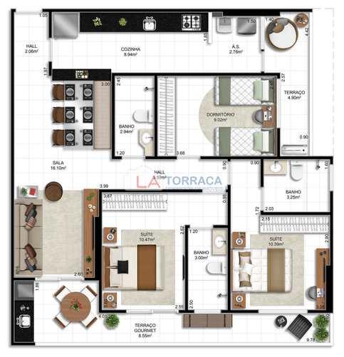 Apartamento, código 12450 em Praia Grande, bairro Ocian