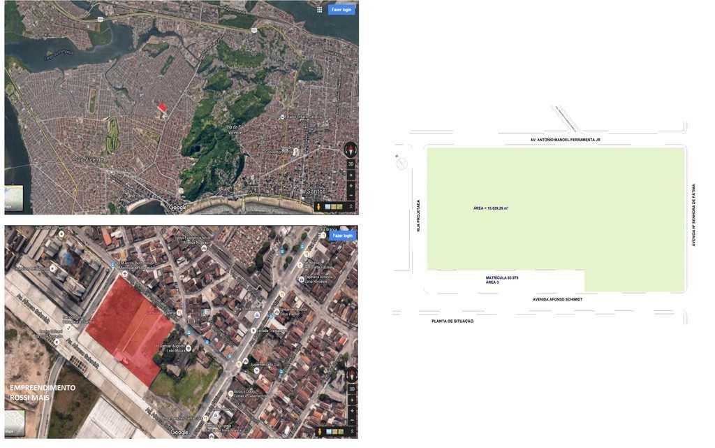 Terreno Comercial em Santos, no bairro Areia Branca