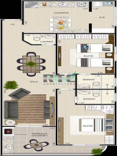 Apartamento, código 1 em Praia Grande, bairro Ocian