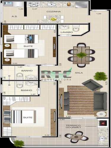 Apartamento, código 2 em Praia Grande, bairro Ocian