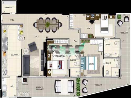 Apartamento, código 13 em Praia Grande, bairro Caiçara