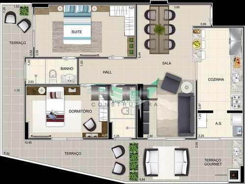 Apartamento, código 14 em Praia Grande, bairro Caiçara