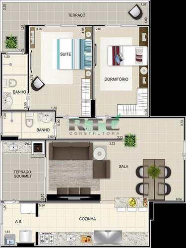 Apartamento, código 15 em Praia Grande, bairro Caiçara