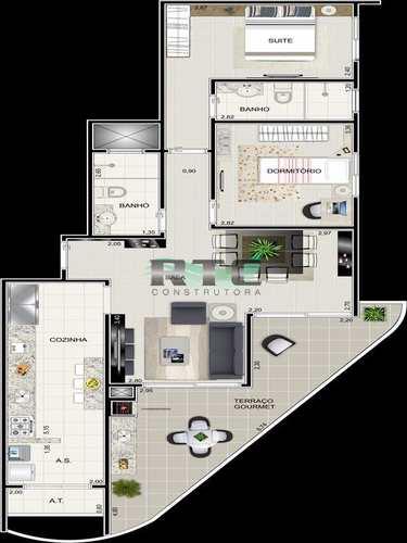 Apartamento, código 18 em Praia Grande, bairro Caiçara