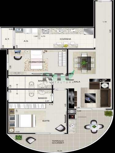Apartamento, código 19 em Praia Grande, bairro Caiçara
