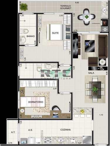 Apartamento, código 21 em Praia Grande, bairro Caiçara