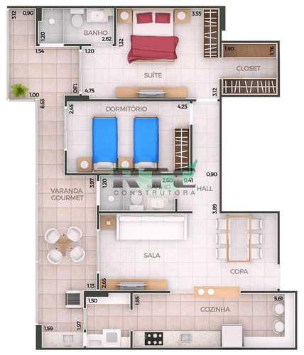 Apartamento, código 38 em Praia Grande, bairro Canto do Forte