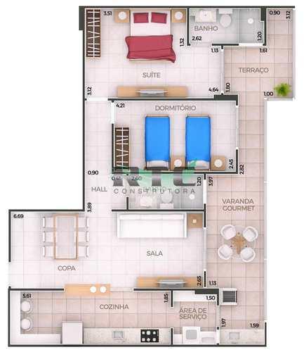 Apartamento, código 41 em Praia Grande, bairro Canto do Forte
