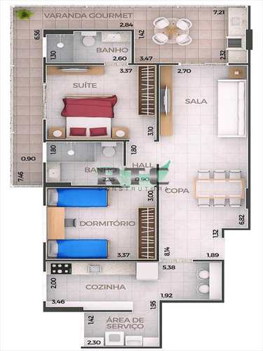 Apartamento, código 27 em Praia Grande, bairro Canto do Forte