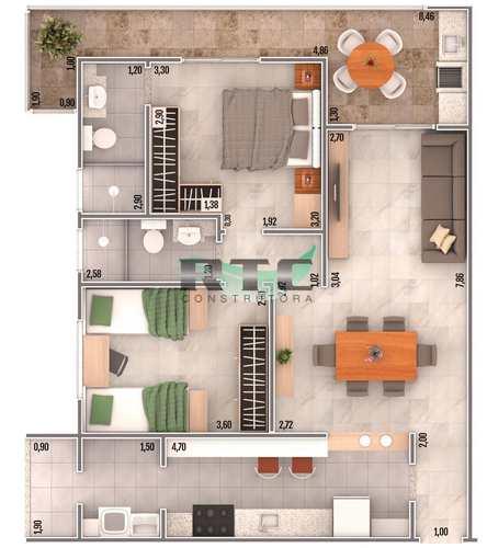 Apartamento, código 31 em Praia Grande, bairro Caiçara
