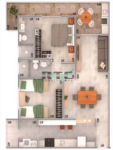 Apartamento, código 32 em Praia Grande, bairro Caiçara