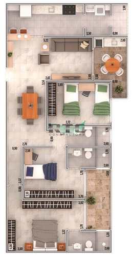 Apartamento, código 42 em Praia Grande, bairro Caiçara