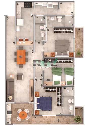 Apartamento, código 43 em Praia Grande, bairro Caiçara