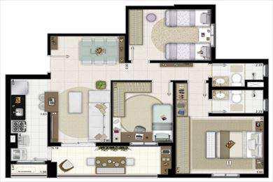 Apartamento, código 2291 em Santos, bairro Marapé