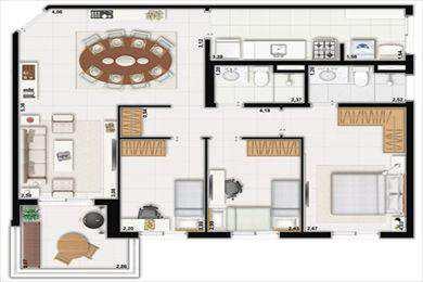 Apartamento, código 897 em Santos, bairro Marapé