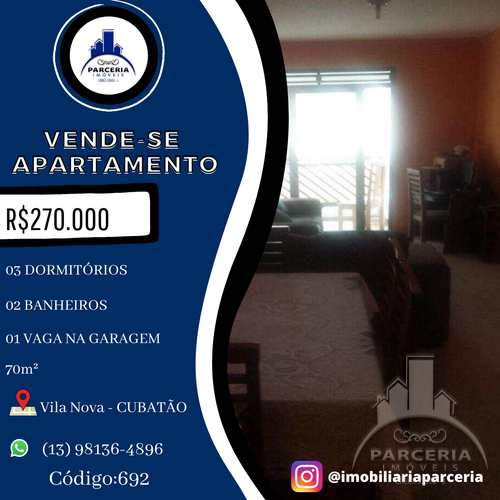 Apartamento, código 692 em Cubatão, bairro Vila Nova