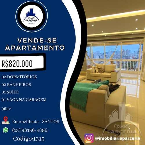 Apartamento, código 1315 em Santos, bairro Encruzilhada