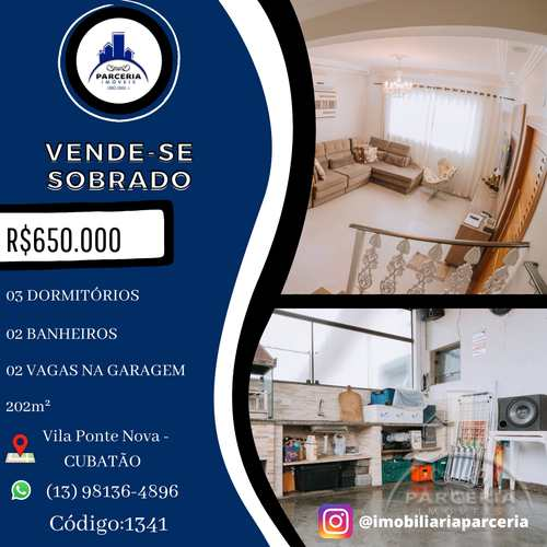 Sobrado, código 1341 em Cubatão, bairro Vila Ponte Nova