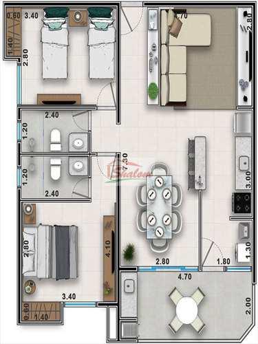 Apartamento, código 1191 em Caraguatatuba, bairro Sumaré