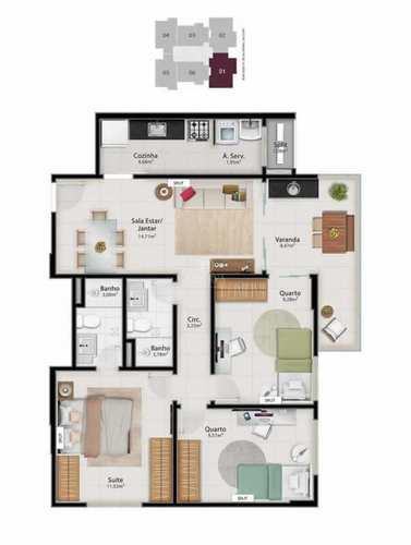 Apartamento, código 495 em Vitória, bairro Jardim da Penha