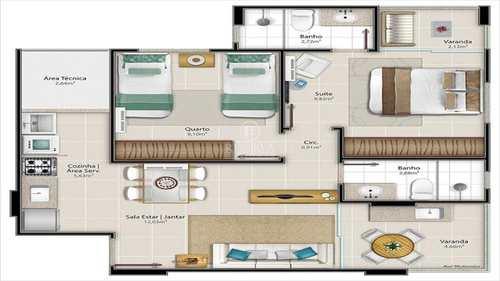 Apartamento, código 316 em Vitória, bairro Santa Cecília