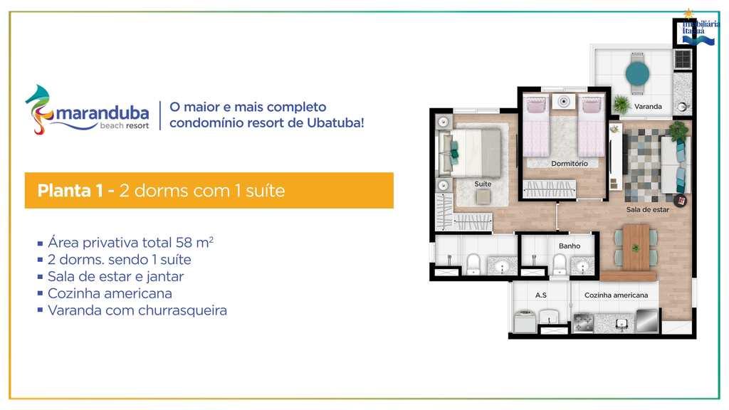 Apartamento em Ubatuba, no bairro Balneário Maranduba