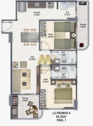 Apartamento, código 2850 em Praia Grande, bairro Guilhermina