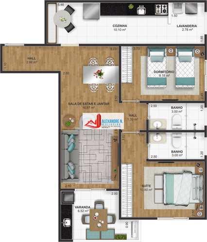 Apartamento, código AP00636 em Praia Grande, bairro Ocian