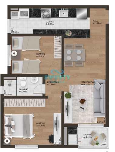 Apartamento, código 1096 em Gravataí, bairro Passo das Pedras