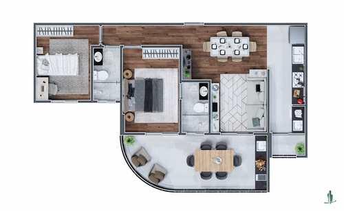 Apartamento, código 1654 em Praia Grande, bairro Mirim