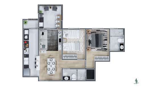 Apartamento, código 1657 em Praia Grande, bairro Mirim