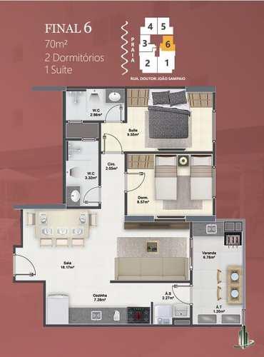 Apartamento, código 1680 em Praia Grande, bairro Guilhermina