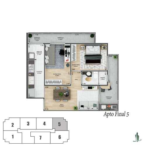 Apartamento, código 1689 em Praia Grande, bairro Canto do Forte
