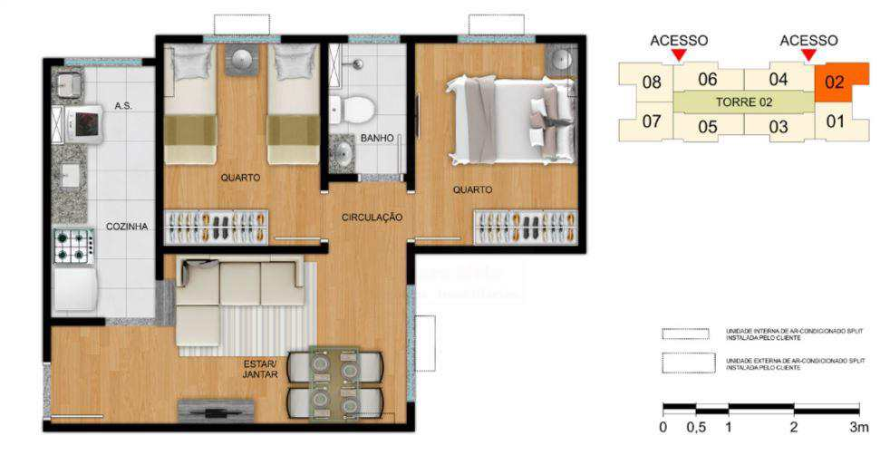 Apartamento em Goiânia, no bairro Jardim Novo Mundo