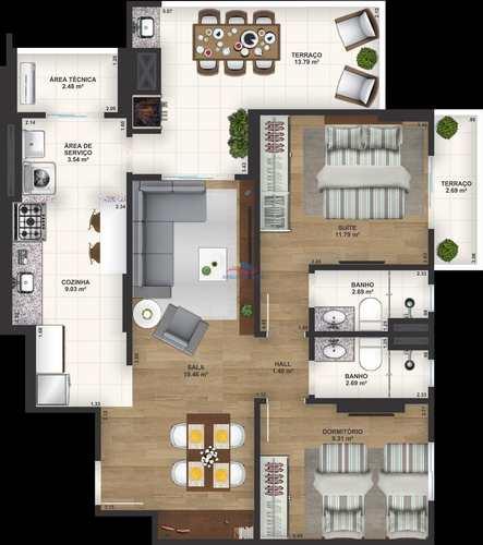 Apartamento, código 2785 em Praia Grande, bairro Aviação