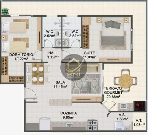 Apartamento, código 63493971 em Praia Grande, bairro Caiçara